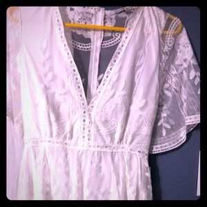 NWT! Pretty, partially sheer, white lace dress